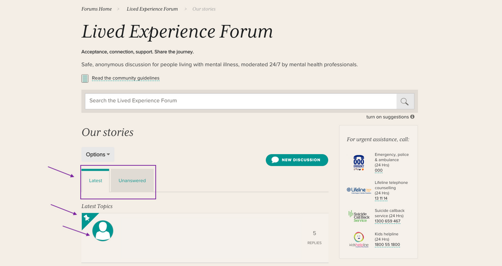 3. Updated discussions page_latest and unanswered.png